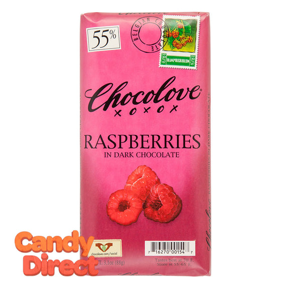 Chocolove Raspberries In Dark Chocolate 3.2oz Bar - 12ct