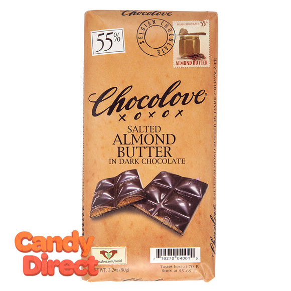 Chocolove Salted Almond Butter In Dark Chocolate 3.2oz Bar - 10ct