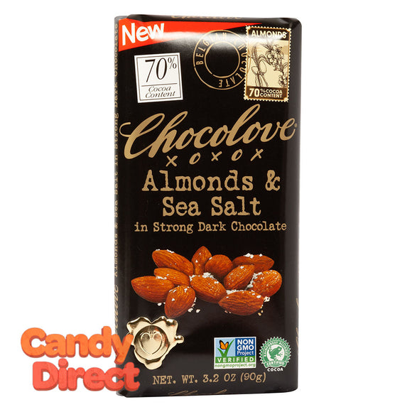 Chocolove Strong Dark Chocolate Almonds And Sea Salt 3.2oz - 12ct