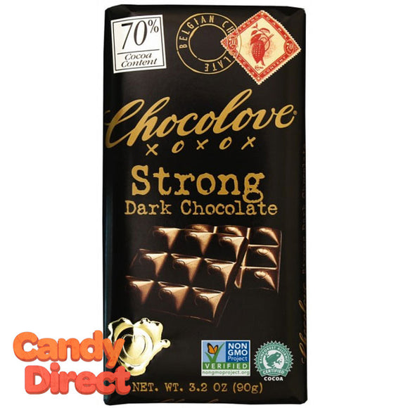 Chocolove Strong Dark Chocolate 70% Bars - 12ct