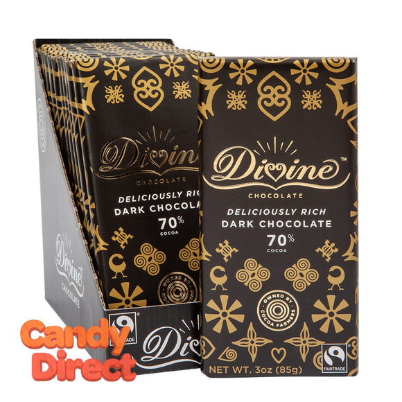 Divine Bars 70% Dark Chocolate 3oz - 12ct