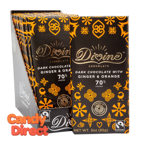 Divine Bars 70% Dark Chocolate With Ginger & Orange 3oz - 12ct