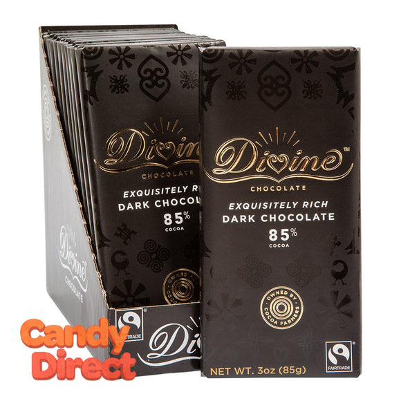Divine Bars 85% Dark Chocolate 3oz - 12ct