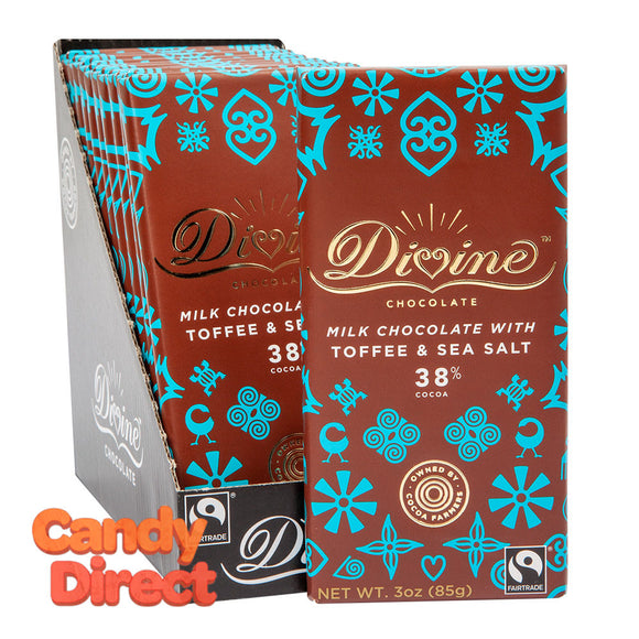 Divine Bars Milk Chocolate With Toffee & Sea Salt 3oz - 12ct