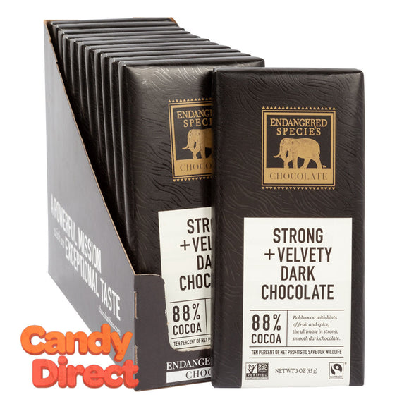 Endangered Species Bars 88% Dark Chocolate 3oz - 12ct