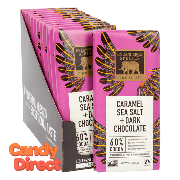 Endangered Species With Caramel And Sea Salt Dark Chocolate 3oz Bar - 12ct