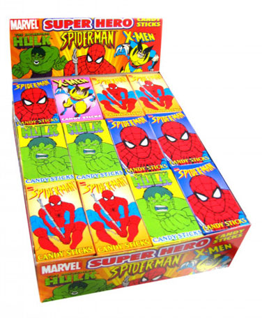 Super Heroes Candy Sticks - 48ct Box