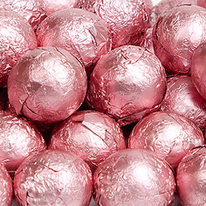 Light Pink Milk Chocolate Balls - Foil 10lb