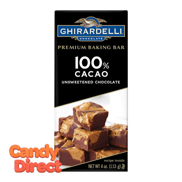 Ghirardelli Bars 100% Cacao Unsweetened Baking 4oz - 12ct
