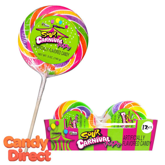 Giant Sour Carnival Pops - 12ct