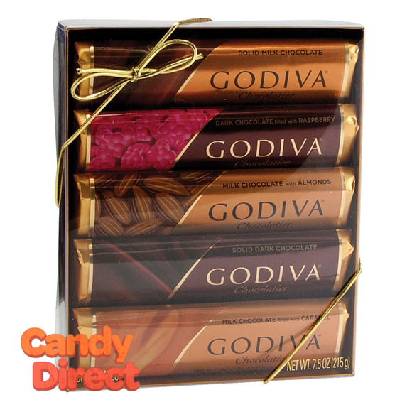 Godiva Assorted Chocolate Bars 5-Piece Gift Pack 7.5oz Acetate - 12ct