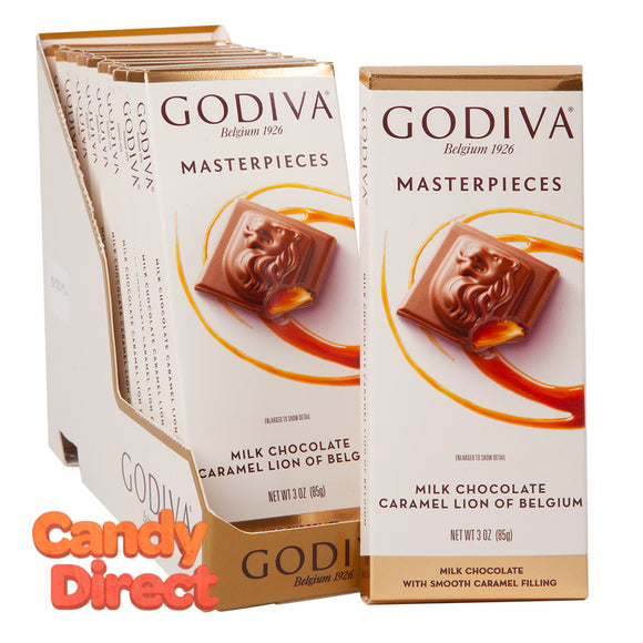 Godiva Masterpieces Milk Chocolate Caramel Lion 3oz Tablet Bar - 10ct