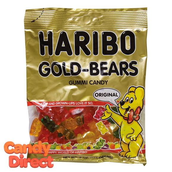 Gold Bears Haribo Gummi Candy 5oz Bags - 12ct