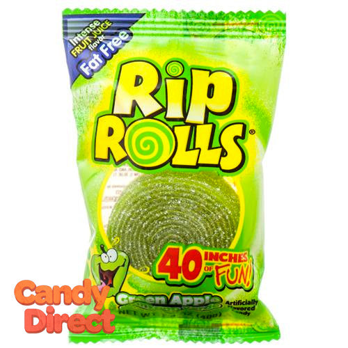 Green Apple Rip Rolls Candy - 24ct
