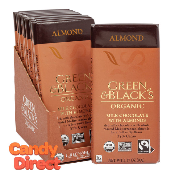 Green & Black Milk Chocolate With Almond Organic 3.17oz - 10ct