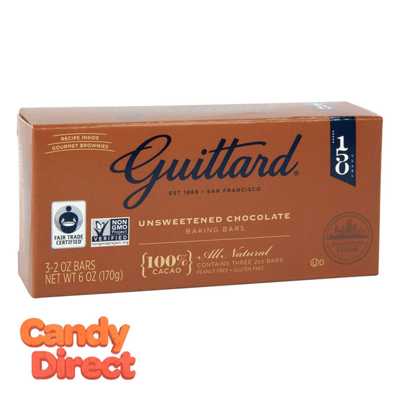 Guittard Baking Bar Unsweetened 6oz Box - 12ct