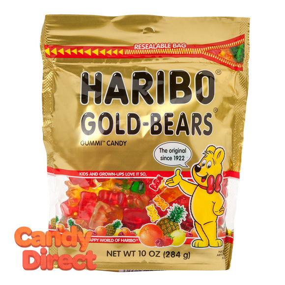 Haribo Gummi Candy Gold Bears 10oz Stand Up Bag - 8ct