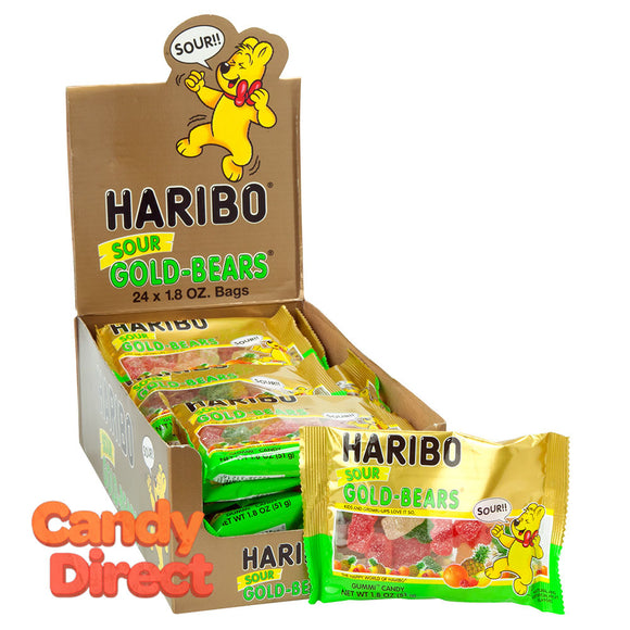 Haribo Gummi Candy Sour Gold Bears 1.7oz Bag - 24ct