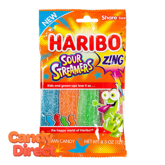Haribo Streamers Zing Sour 4.5oz Peg Bag - 12ct