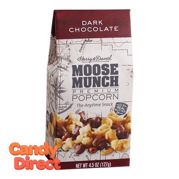 Harry & David Munch Popcorn Dark Chocolate Moose 4.5oz Gable Box - 6ct