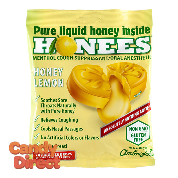 Honees Cough Drops Honey Lemon 20 Pc Peg Bag - 12ct