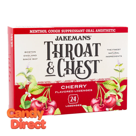 Jakemans Cough Drops Throat & Chest Cherry 24 Pc 3oz Box - 6ct