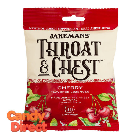 Jakemans Cough Drops Throat & Chest Cherry 30 Pc 4oz Peg Bag - 12ct