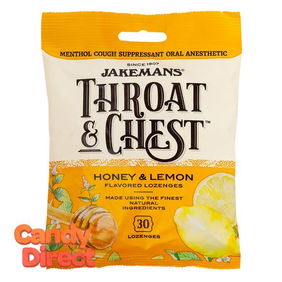 Jakemans Cough Drops Throat & Chest Honey Lemon 30 Pc 4oz Peg Bag - 12ct