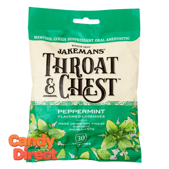 Jakemans Cough Drops Throat & Chest Peppermint 30 Pc 4oz Peg Bag - 12ct