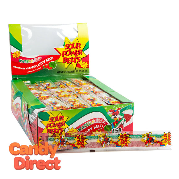 Sour Power Belts Watermelon - Wrapped 150ct