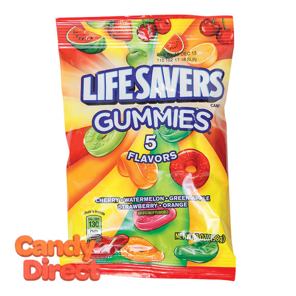 Lifesavers 5 Flavor Gummies 7oz Peg Bag - 12ct