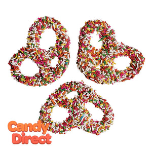 Milk Chocolatey Coated Premier Pretzels With Rainbow Sprinkles - 3lbs