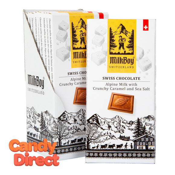 Milkboy Milk Chocolate Swiss Alpine With Crunchy Caramel And Sea Salt 3.5oz Bar - 10ct