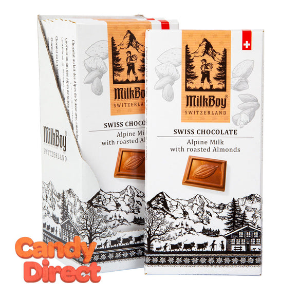Milkboy Milk Chocolate Swiss Alpine With Roasted Almonds 3.5oz Bar - 10ct