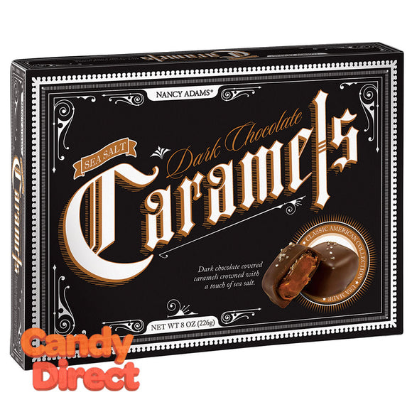 Nancy Adams Dark Chocolate Sea Salt Caramels 8oz Box - 12ct