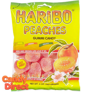Peaches Haribo Gummi Candy 5oz Bag - 12ct