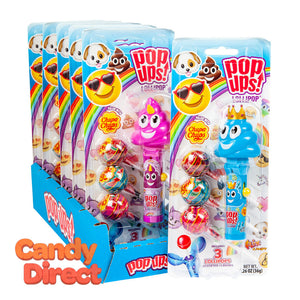 Pop Ups Lollipop Emoji 1.26oz Blister Pack - 6ct