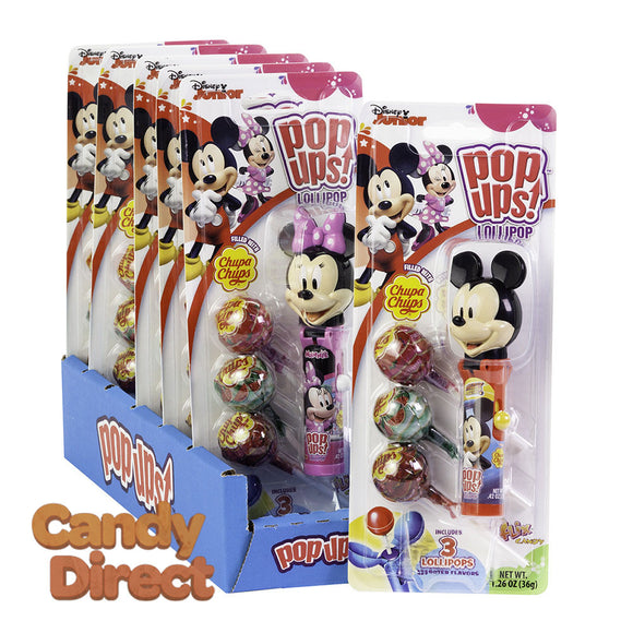 Pop Ups Lollipop Mickey And Minnie 1.26oz Blister Pack - 6ct