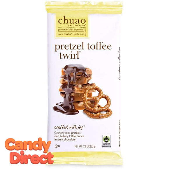Pretzel Toffee Twirl Chuao Dark Chocolate Bars - 10ct