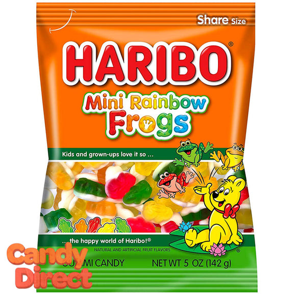 Rainbow Mini Frogs Haribo Gummi Candy 5oz Bag - 12ct