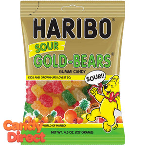 Sour Gold Bears Haribo Gummi Candy 4.5oz Bag - 12ct