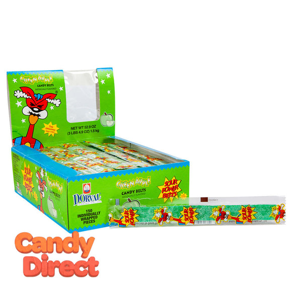Sour Power Belts Green Apple - Wrapped 150ct