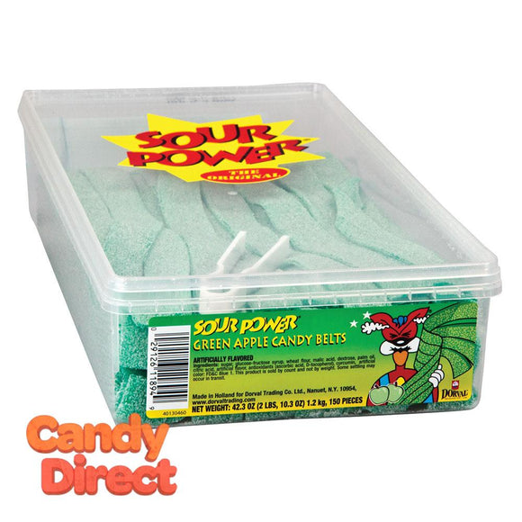 Sour Power Belts Green Apple - 150ct Tub