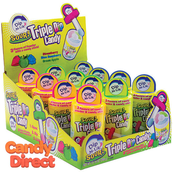 Sour Triple Dip Candy Dip-N-Lik - 12ct