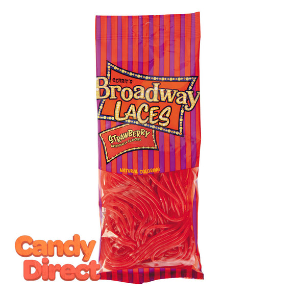 Strawberry Licorice Broadway Laces 4oz Peg Bag - 12ct