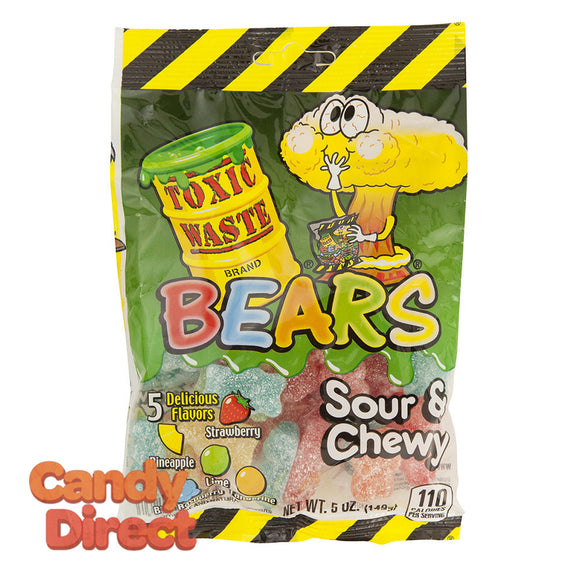 Toxic Waste Gummy Bears Sour And Chewy 5oz Peg Bag - 12ct