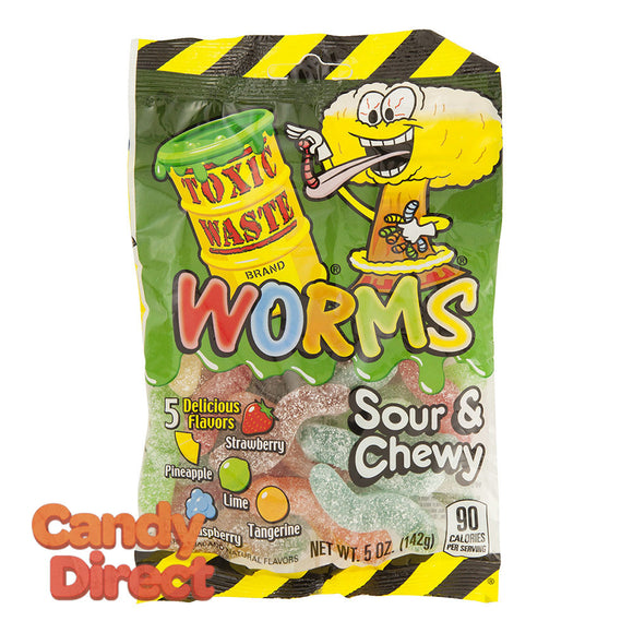 Toxic Waste Gummy Worms Sour And Chewy 5oz Peg Bag - 12ct