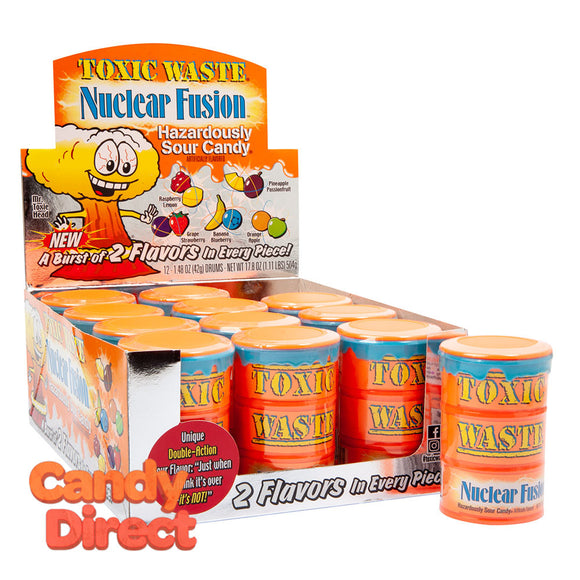 Toxic Waste Nuclear Fusion Candy 1.48oz Drum - 12ct