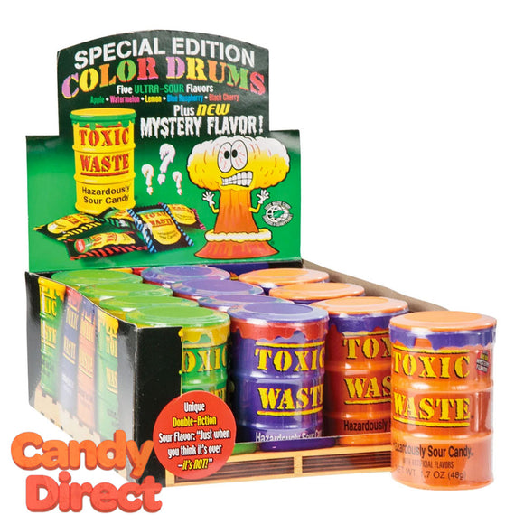 Toxic Waste Ultra Sour Colored Drums - 12ct