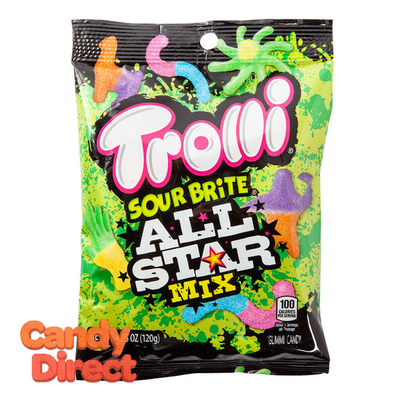 Trolli All Star Mix Sour Brite 4.25oz Peg Bag - 12ct